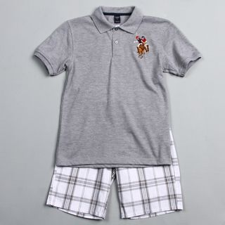 US Polo Association Big Boys Plaid Short and Polo Shirt Set