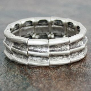 Silver Pewter Deep Ridges Slender Stretch Bracelet (Turkey