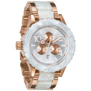 Nixon Mens Rose gold and White Granite 42 20 Chronograph Watch