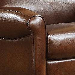 Metropolitan Faux Brown Leather Chair and Ottoman Set