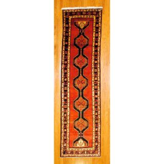 Persian Hand knotted Red/ Black Tribal Hamadan Wool Rug (35 x 129