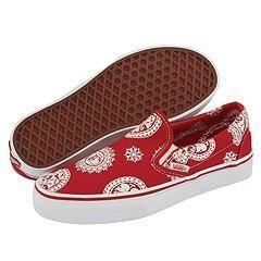 Vans Kids Classic Slip On (Youth/Adult) Paisley Skulls/Red/True White