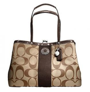Coach Signature Kiss Cross Frame Carryall Bag Purse Tote
