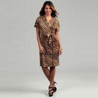 Connected Apparel Womens Brown Zip front Dress