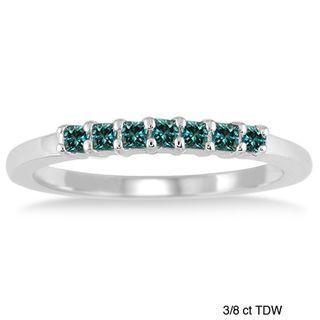 10k White Gold 3/8 to 1/2ct TDW Blue Diamond Wedding Ring