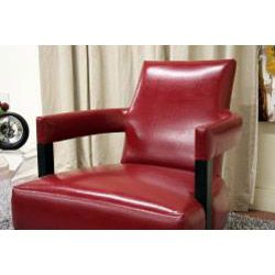 Kenorah Red Leather Modern Club Chair