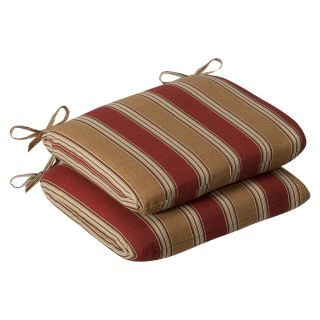 Pillow Perfect Outdoor Red/ Gold Striped Round Seat Cushions (Set of 2