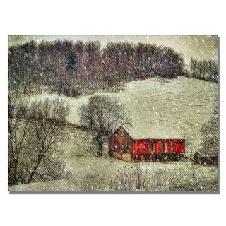 Lois Bryan Snowy Cabin Canvas Art