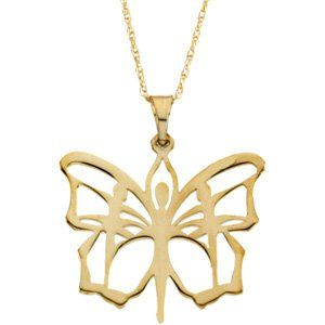 CleverEves 14K White Gold Butterfly Ballet Pendant