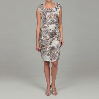 London Times Womens Floral Shimmer Sheath Dress