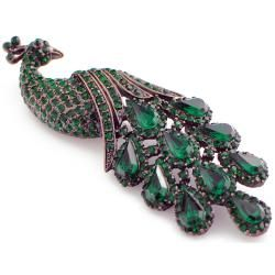 Rose Goldtone Green Austrian Crystal Vintage style Peacock Pin