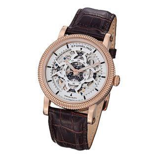 Stuhrling Original Mens Soprano Automatic Leather Strap Watch