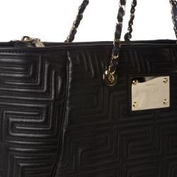 Versace Quilted Black Leather Tote Bag