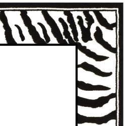 Lyndhurst Collection Zebra Border Black/ Cream Rug (5 3 x 7 6