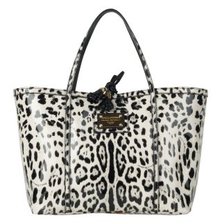 Dolce & Gabbana Cream/Black Animal Print Varnished Leather Shopper Bag