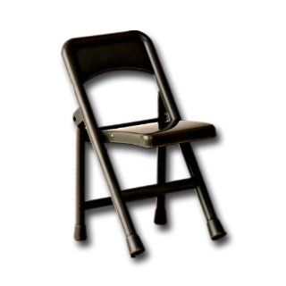 Black Folding Chair for Wrestling Action Figures Toys