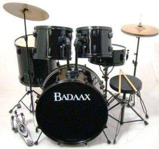Badaax Ninja 5 Pc Drum Set w/ Hdwr, Cyms & Throne Black