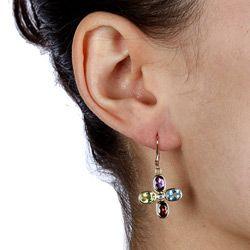 10/ 14k Yellow Gold Multi gemstone and Diamond Accent Cross Earrings