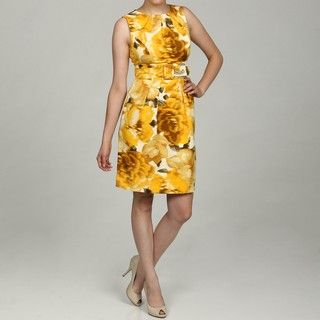 Eliza J Womens Yellow Floral Belted Dress