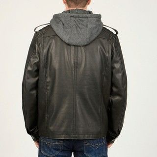 Mens Black Faux Leather Multi Pocket Jacket