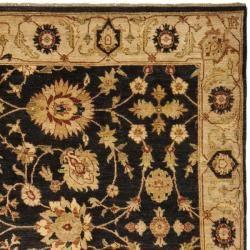 Pakistani Hand knotted Peshawar Black/ Beige Wool Rug (9 x 12