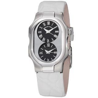 Philip Stein Womens Signature Black Dial White Strap Quartz Watch