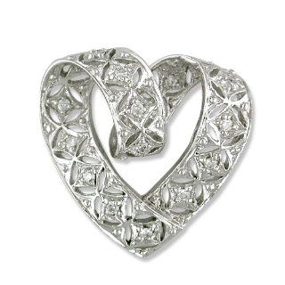 14k White Gold Diamond Slide Pendant with 18in. chain