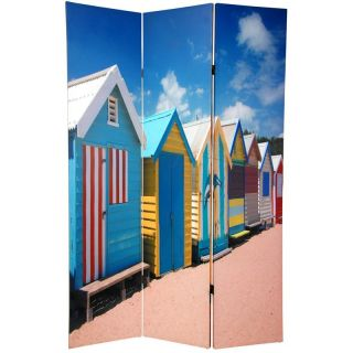 Wood and Canvas Double sided Cabana Beach Room Divider (China