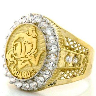 10K Solid Yellow Gold Mens Zodiac CZ Ring   Aquarius