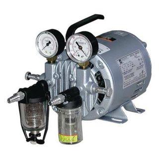 Gast 0211 V45F G8CX Vacuum Pump, Rotary Vane, 1/6 HP, 20 In HG