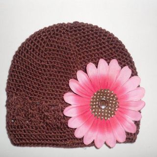 Bow Clippeez 2 Envy Pink Flower Clip Brown Hat
