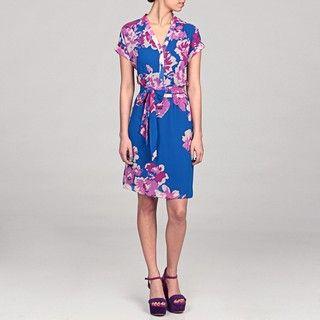 Eliza J Womens Blue Floral Belted Dress