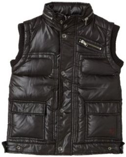 Guess Boys 2 7 Shiny Bubble Vest With Hood, Black, S(4