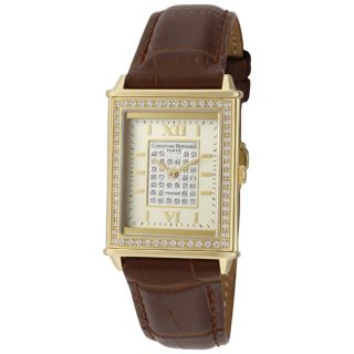 Christian Bernard Womens Highlight Brown Genuine Leather Watch