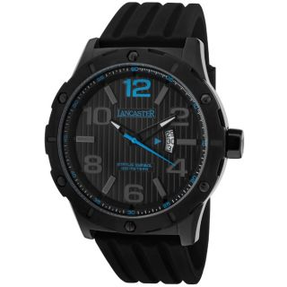 Lancaster Italy Mens Trendy/Status Symbol Black Silicone Watch