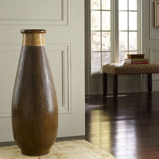 Wood Grain and Rattan Floor Vase (Indonesia)
