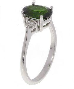 14k White Gold 1/4ctw Diamond Chrome Diopside Ring