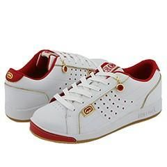 Red by Marc Ecko Phad White Leather/Red & Gold Trim