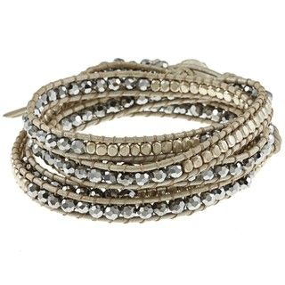 Silver and Glass Bead Leather Wrap Bracelet