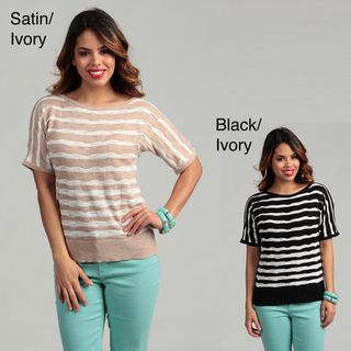Cable & Gauge Womens Varied Stripe Boat Neck Sweater FINAL SALE