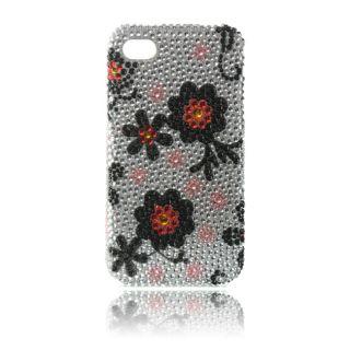 Luxmo Black Daisy Rhinestone Protector Case for iPhone 4 / 4S