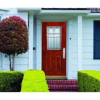 Stanley Textured Woodgrain Fiberglass Unfinished Entry Door