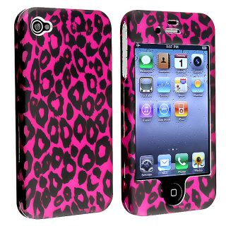 Hot Pink Leopard Snap on Case for Apple iPhone 4 AT&T/ Verizon