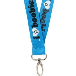 Keep A Breast I Love Boobies Lanyard Blue/Black: Clothing