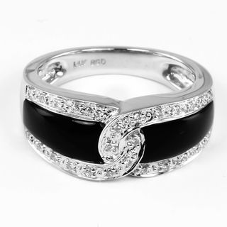 14k White Gold Onyx and 1/6ct TDW Round cut Diamond Ring (H I, I1 I2