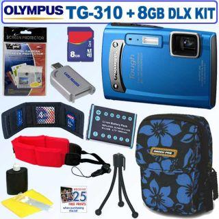 Olympus Tough TG 310 14MP Blue Digital Camera with 8GB Kit