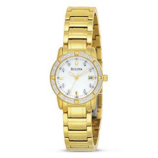 Bulova Womens Goldtone Mother of Pearl Dial Diamond Watch