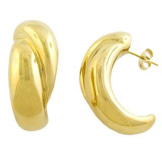 14k Yellow Gold Overlapped J shaped Earrings