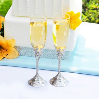 Hand Blown Satin Finish Champagne Flutes (Set of 2)