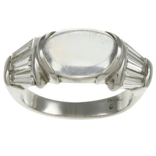 Platinum Moonstone and 1 1/5ct TDW Diamond Estate Ring (H I, SI1 SI2